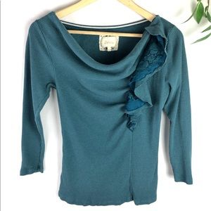 Anthropologie Deletta Blue Thermal Ruffle Top